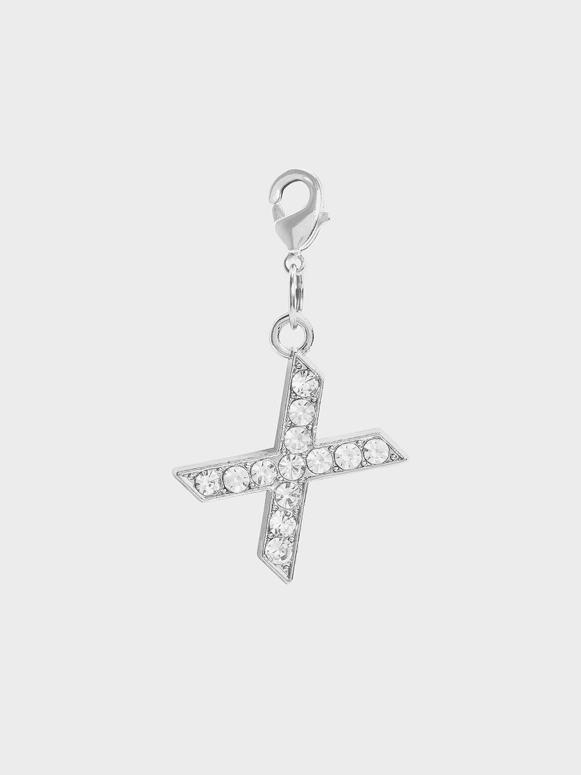 Crystal Embellished Alphabet Charm - X, Silver, hi-res