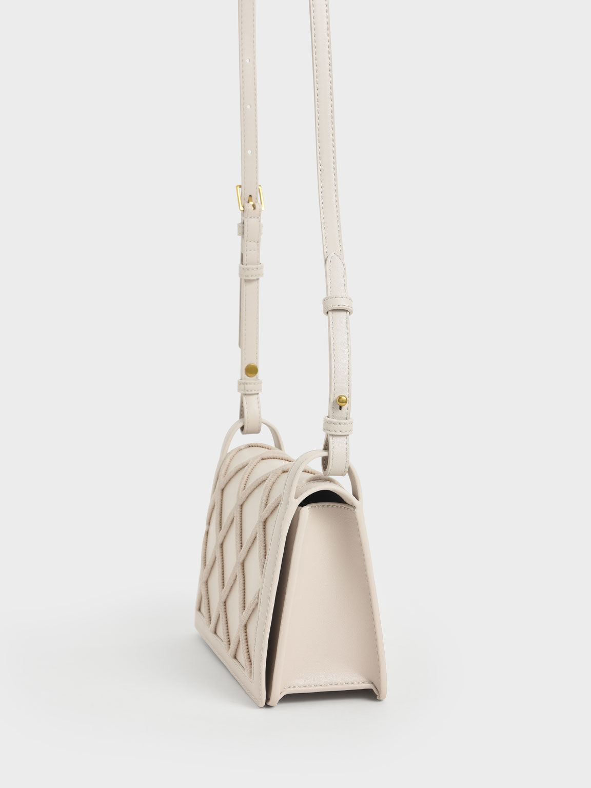 Beaded Handle Shoulder Bag, Ivory, hi-res