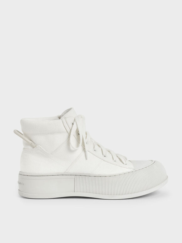 Canvas High-Top Sneakers, White, hi-res
