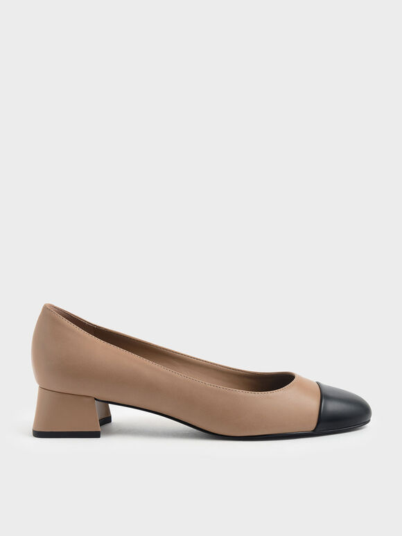 Two-Tone Round Toe Curved Block Heel Pumps, Nude, hi-res