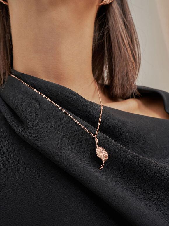 Leaf Pendant Bead Necklace, Rose Gold, hi-res