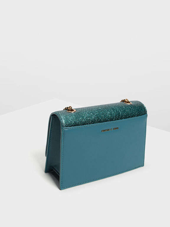Chain Detail Front Flap Bag, Teal, hi-res