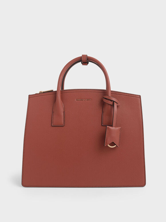 Large Structured Tote Bag, Cognac, hi-res