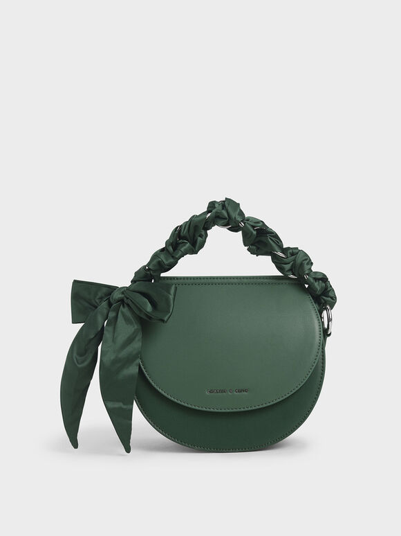 Satin Scarf Semi Circle Bag, Green, hi-res