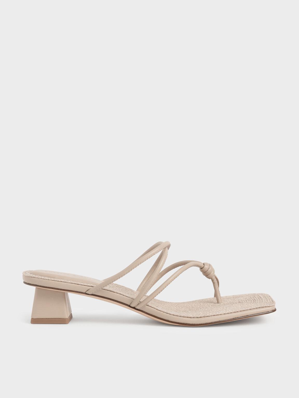 Toe Loop Strappy Heeled Sandals, Beige, hi-res
