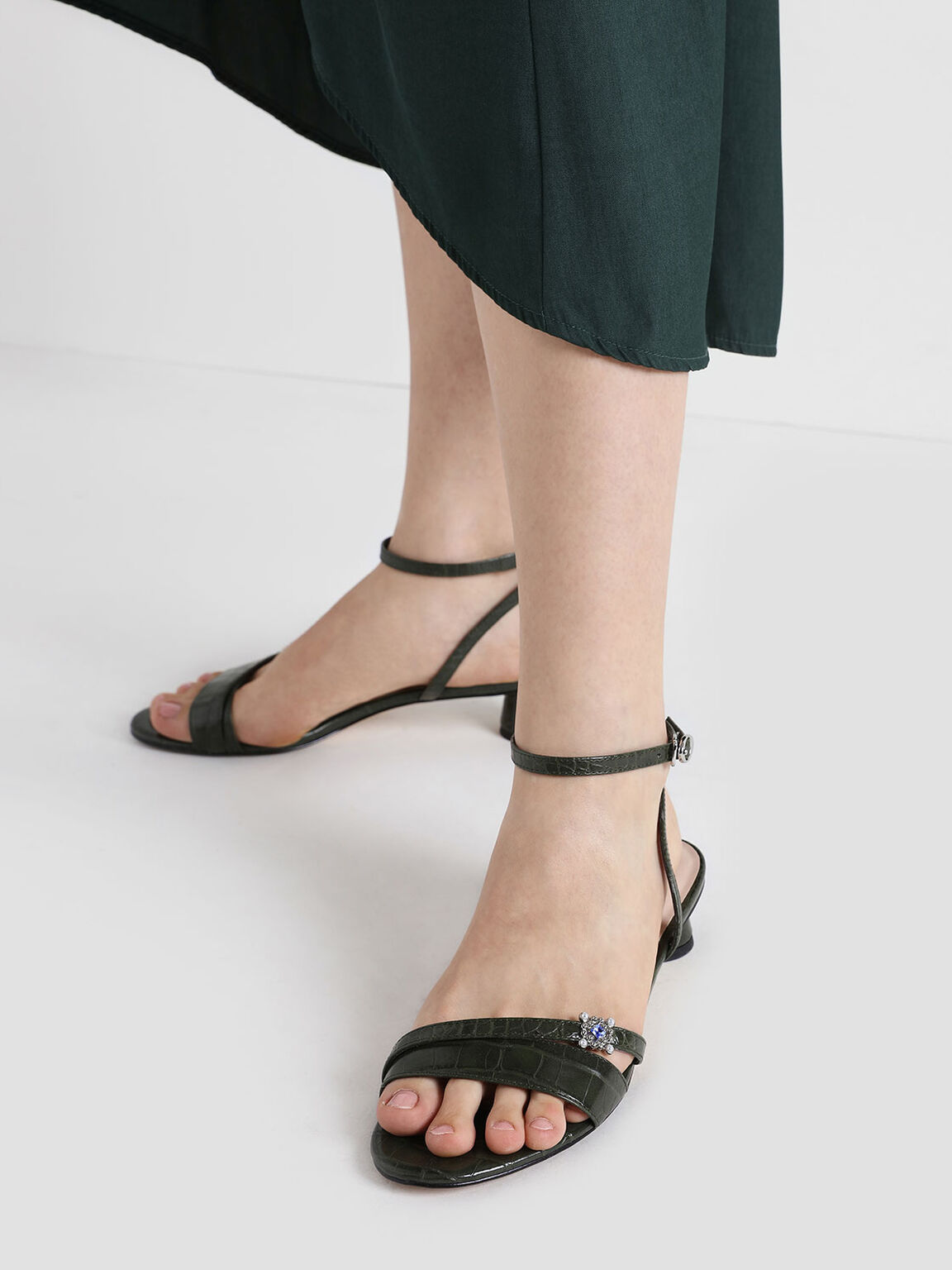 Croc-Effect Gem Embellished Cylindrical Heel Sandals, Green, hi-res