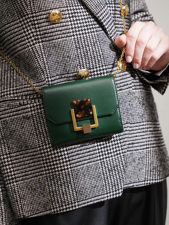 Metallic Accent Mini Wallet, Green, hi-res