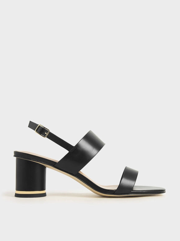 Cylindrical Heel Sandals, Black, hi-res