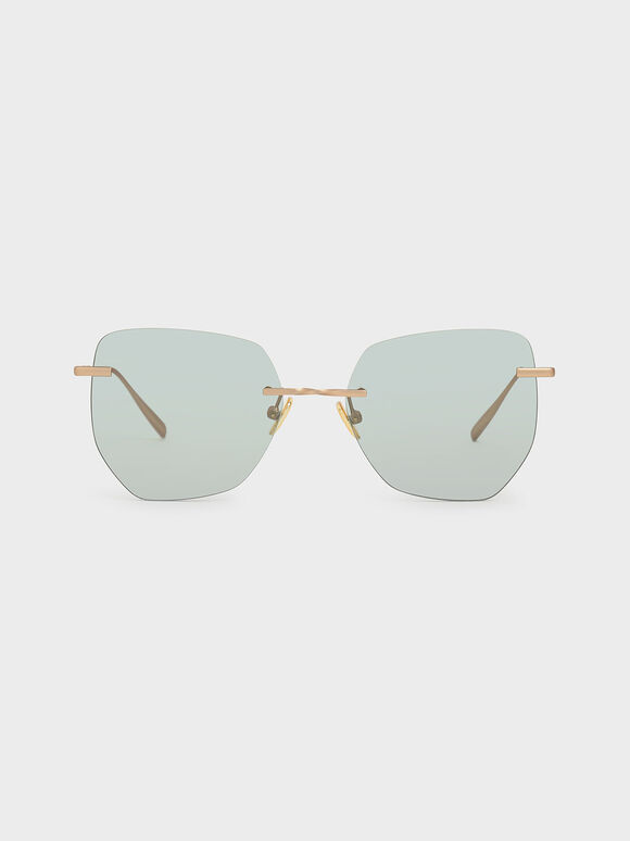 Rimless Geometric Sunglasses, Green, hi-res