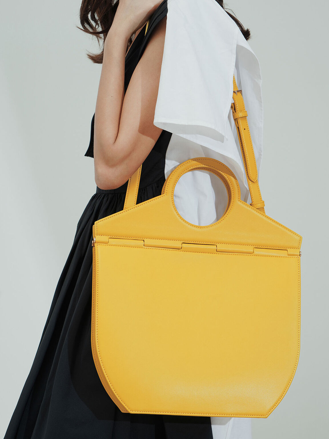 Geometric Tote Bag, Yellow, hi-res