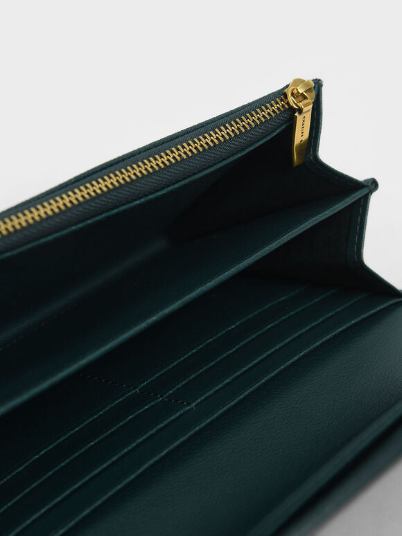 Curved Front Flap Wallet, Green, hi-res