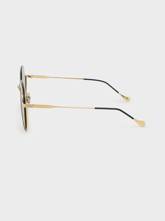 不對稱細框墨鏡, 綠色, hi-res