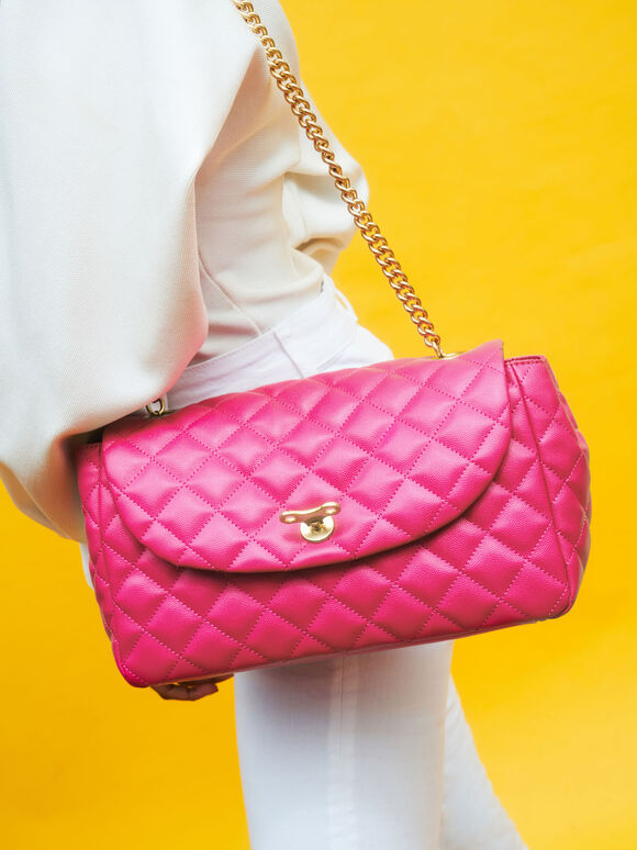 Chain Link Quilted Top Handle Bag, Fuchsia, hi-res