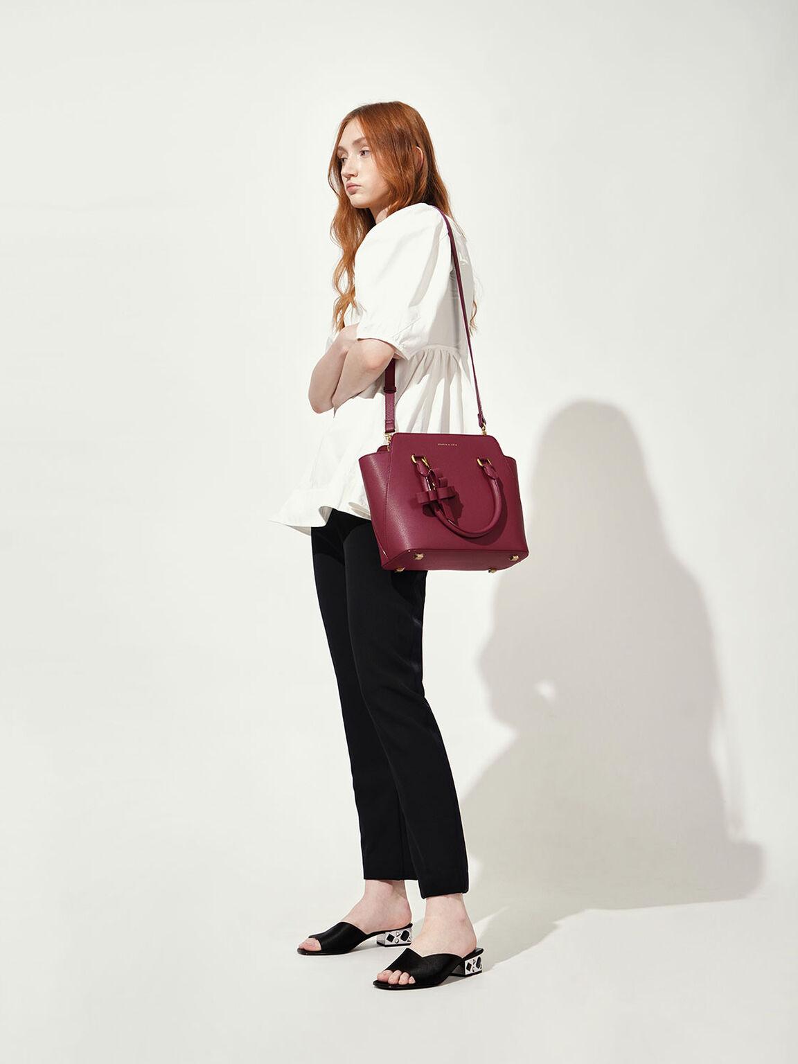 Large Classic Handbag, Berry, hi-res