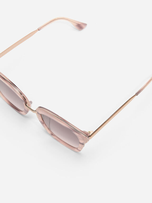 Angular Frame Aviators, Pink, hi-res