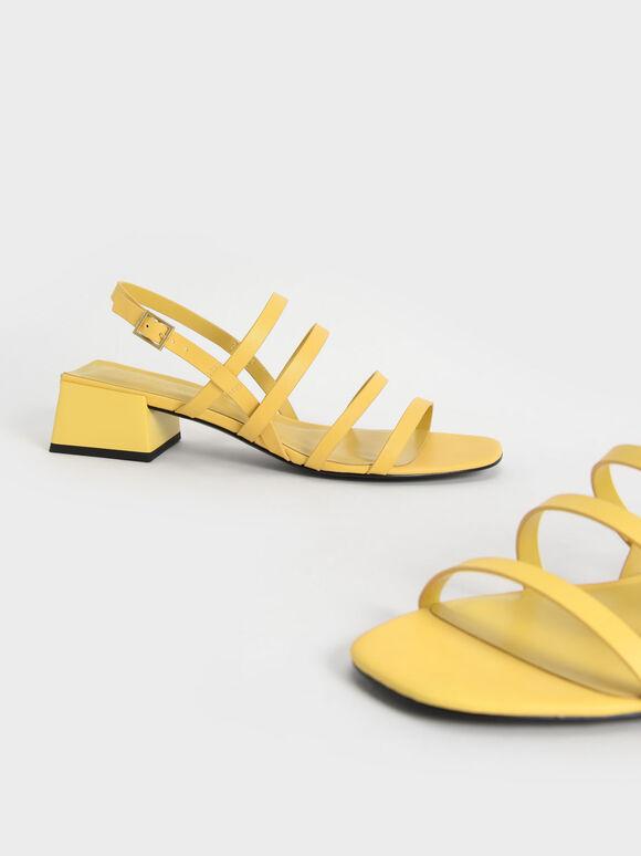 多帶粗跟涼鞋, 黃色, hi-res
