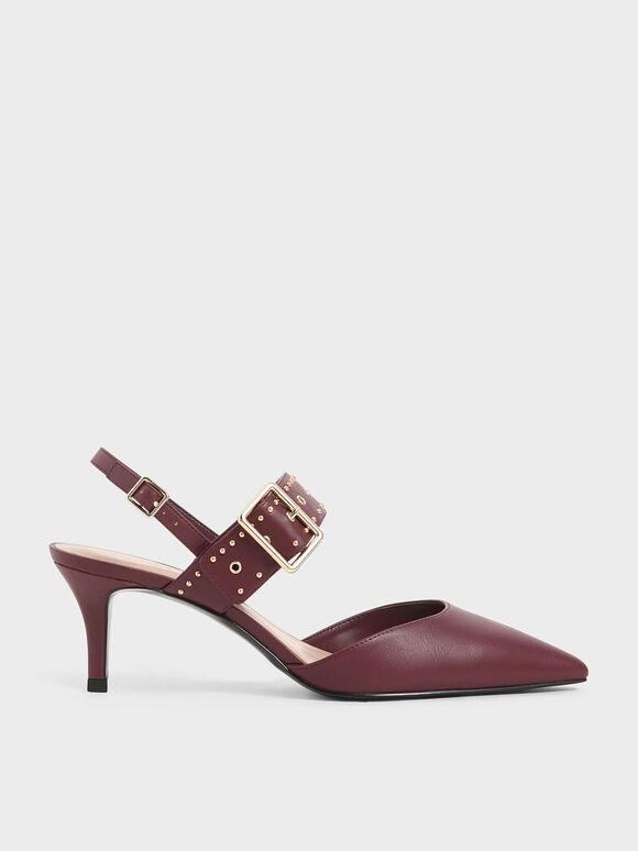 鉚釘尖頭跟鞋, 酒紅色, hi-res