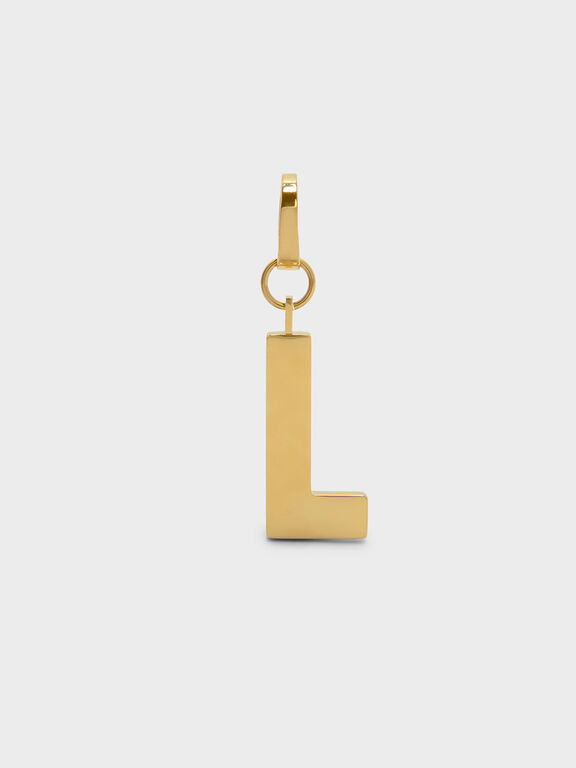 Gold Alphabet Keychain, Gold