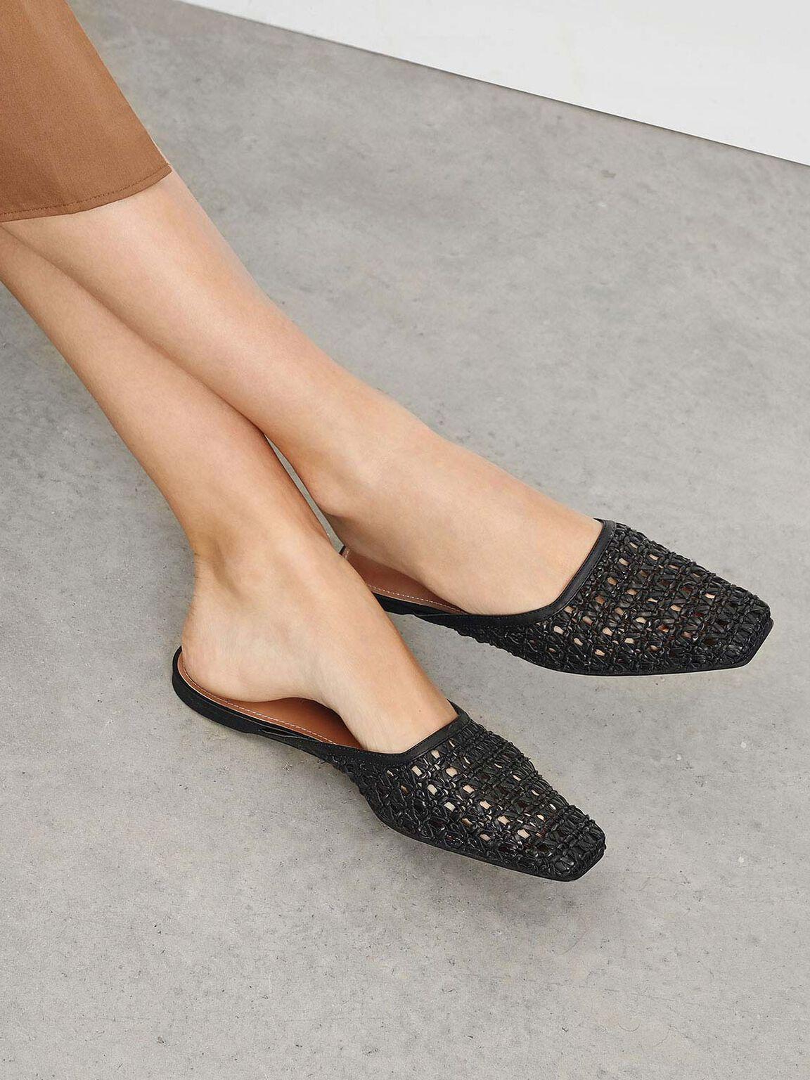 Woven Square Toe Mules, Black, hi-res