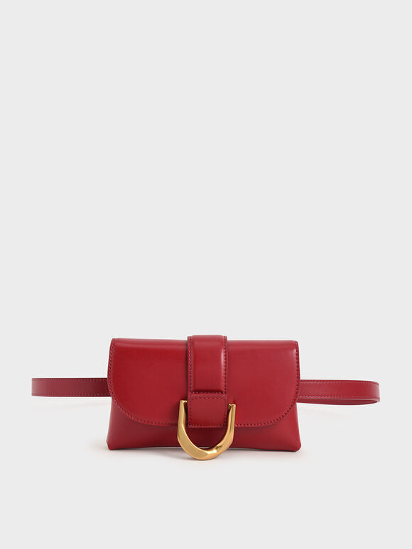 Metallic Buckle Crossbody Bag, Red, hi-res