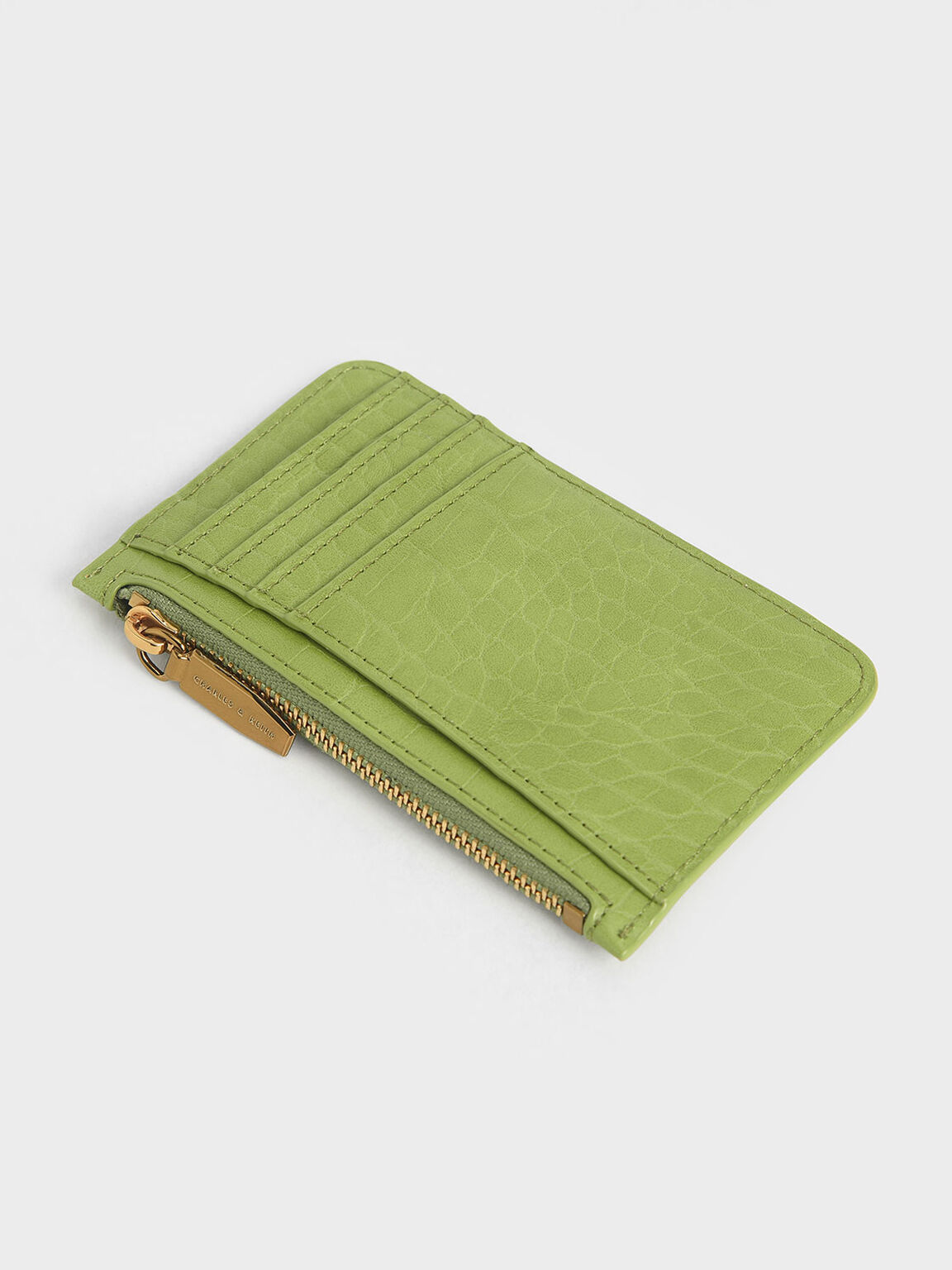 Croc-Effect Zip Pocket Card Holder, Green, hi-res