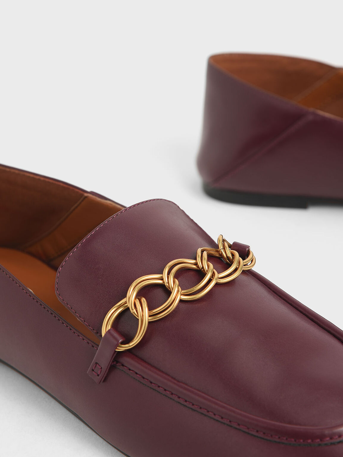 Chain Strap Step-Back Loafers, Prune, hi-res