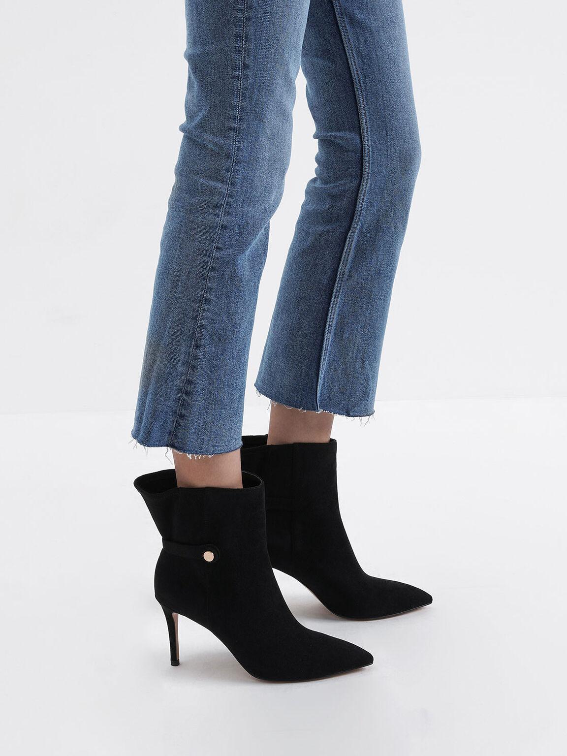 Textured Stiletto Heel Ankle Boots, Black, hi-res