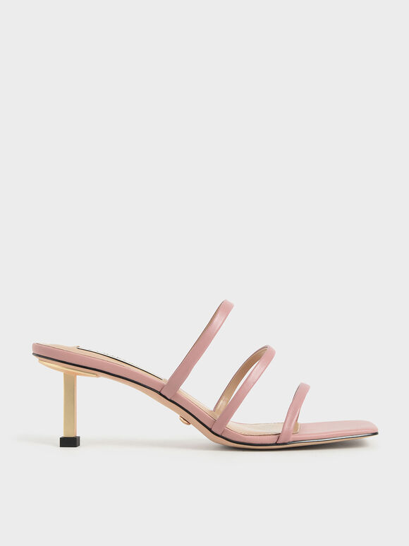 Strappy Heeled Mules, Pink, hi-res