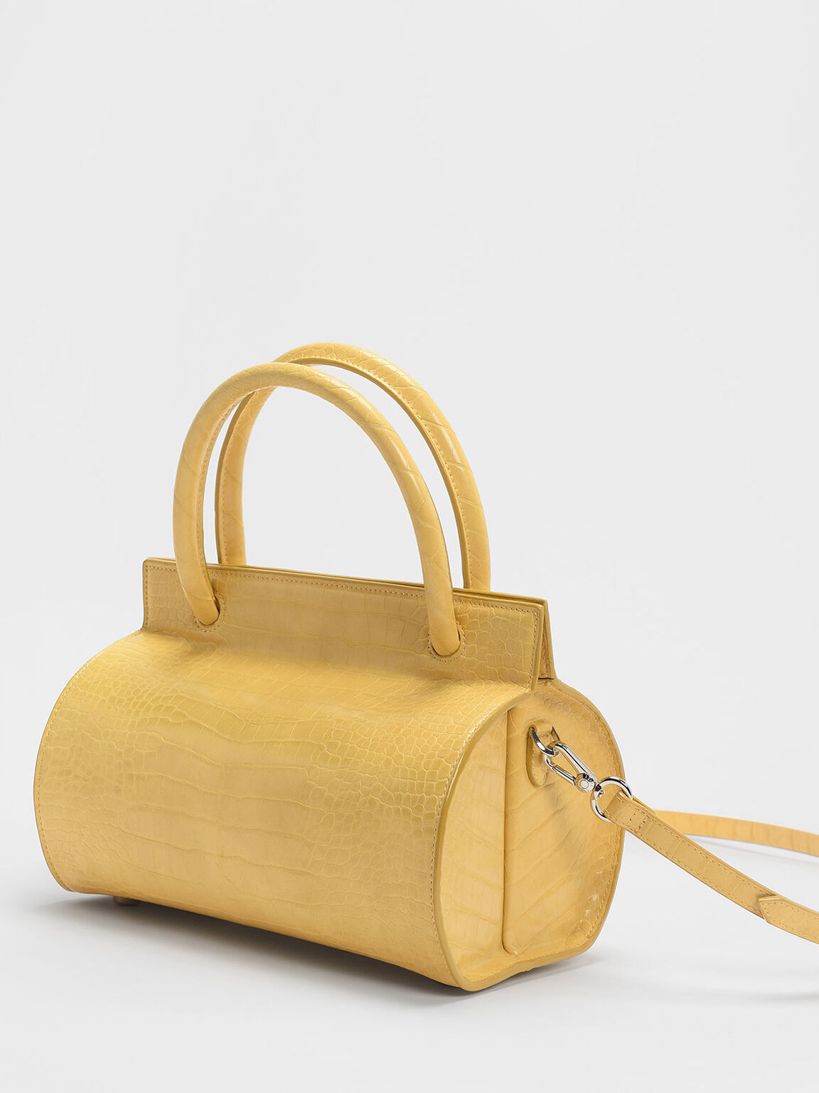 Croc-Effect Double Top Handle Structured Bag, Yellow, hi-res