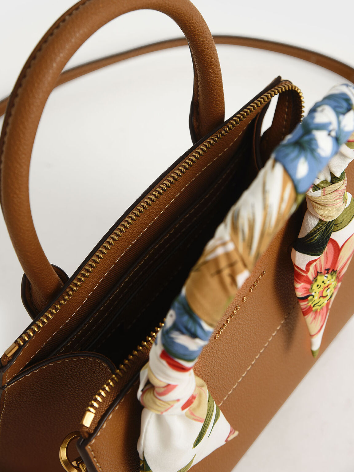 Scarf-Wrapped Top Handle Bag, Camel, hi-res