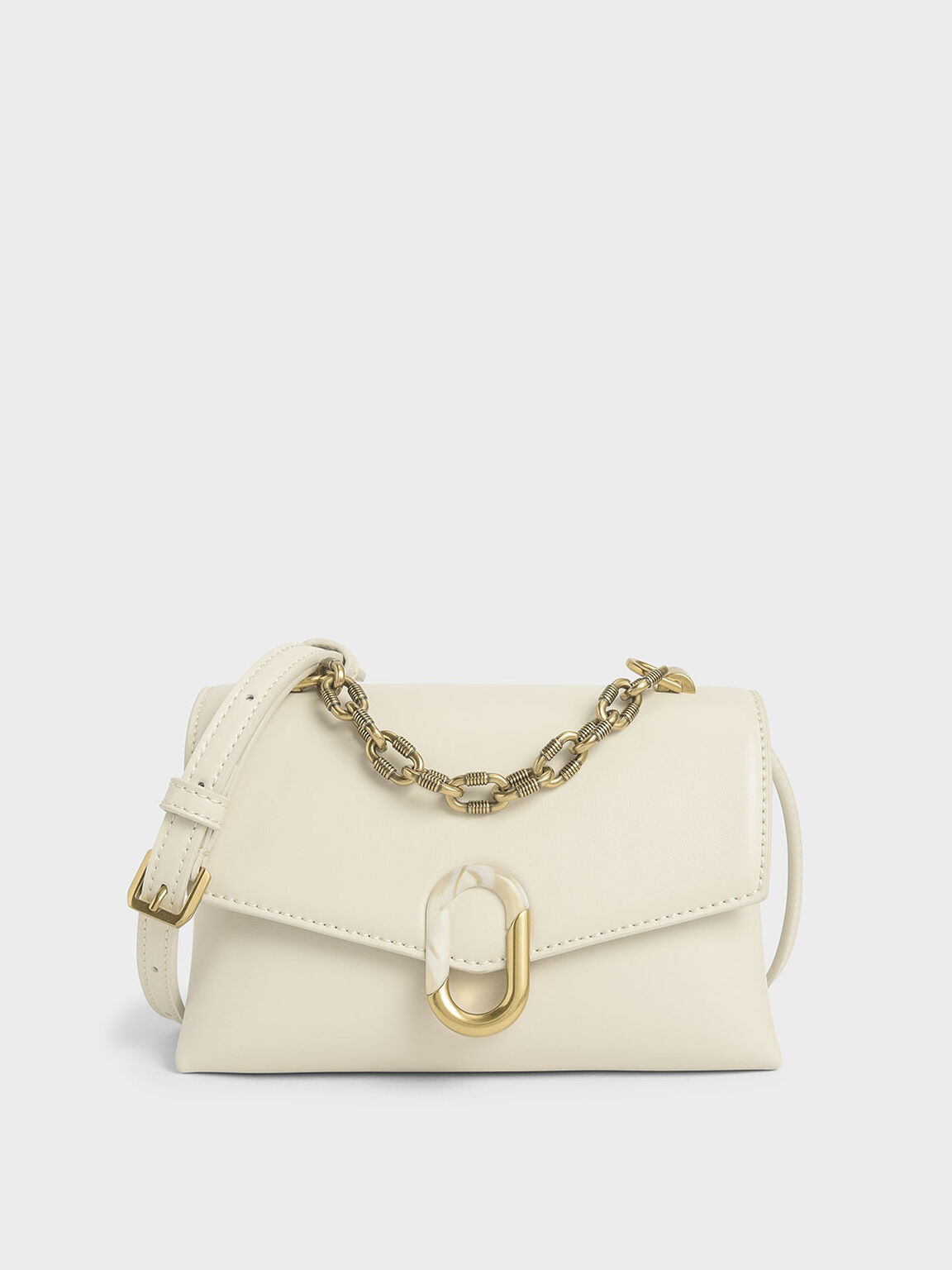 Chunky Chain Strap Trapeze Bag, Cream, hi-res