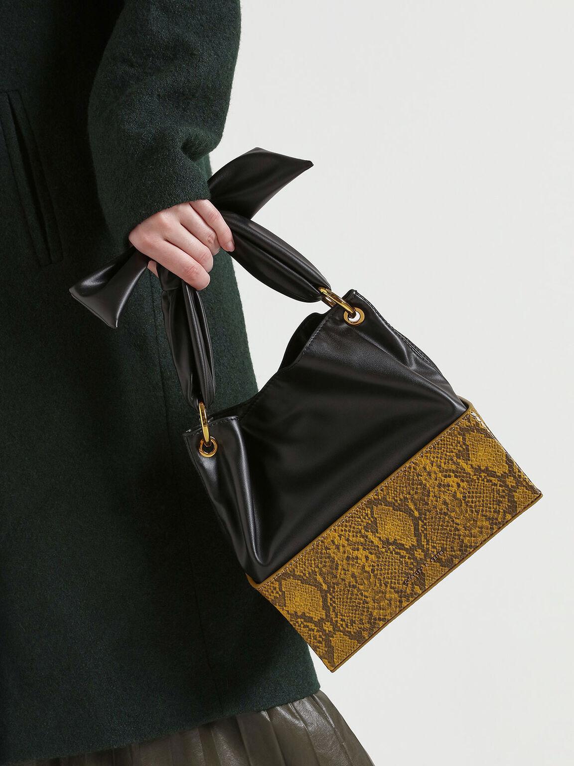 Snake Print Knotted Shoulder Bag, Yellow, hi-res