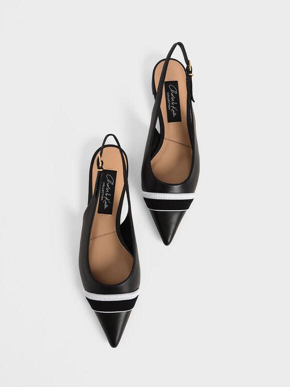 Two-Tone Leather Slingback Flats, Black, hi-res