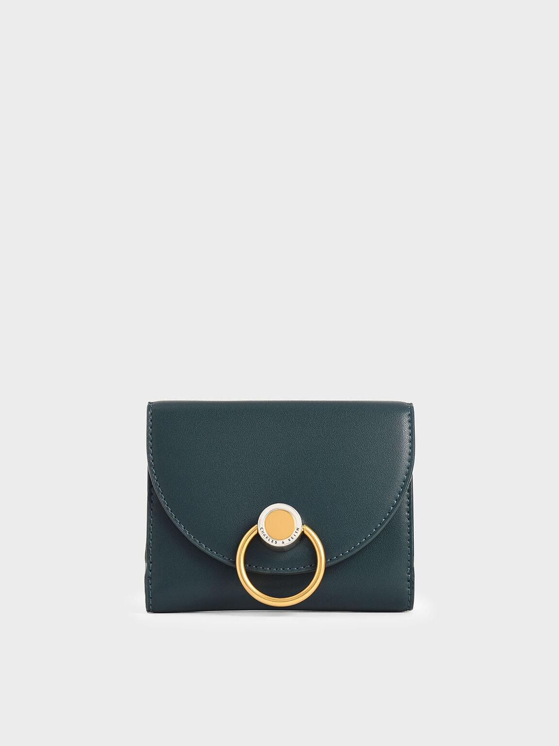 簡約金圓釦皮夾, 藍綠色, hi-res