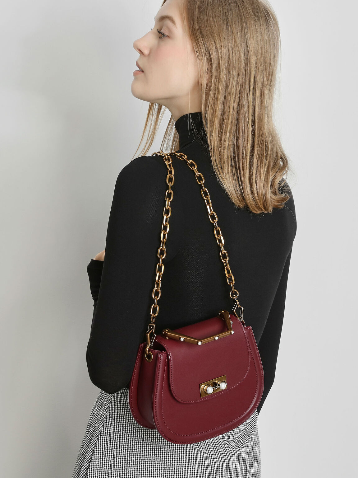 Metal Top Handle Bag, Prune, hi-res