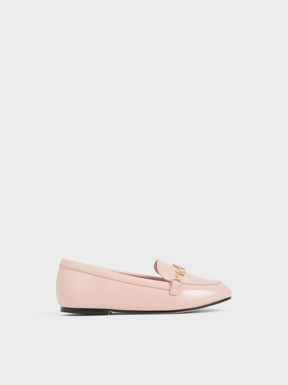 Girls' Wrinkled Patent Charm Loafers, Pink, hi-res