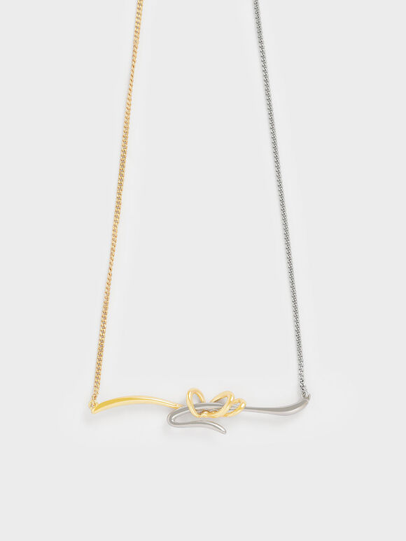 Two-Tone Sculptural Princess Necklace, Gold, hi-res