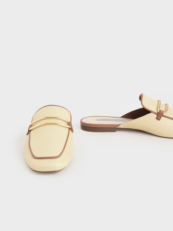 Raffia Metallic Buckle Loafer Mules, Sand, hi-res