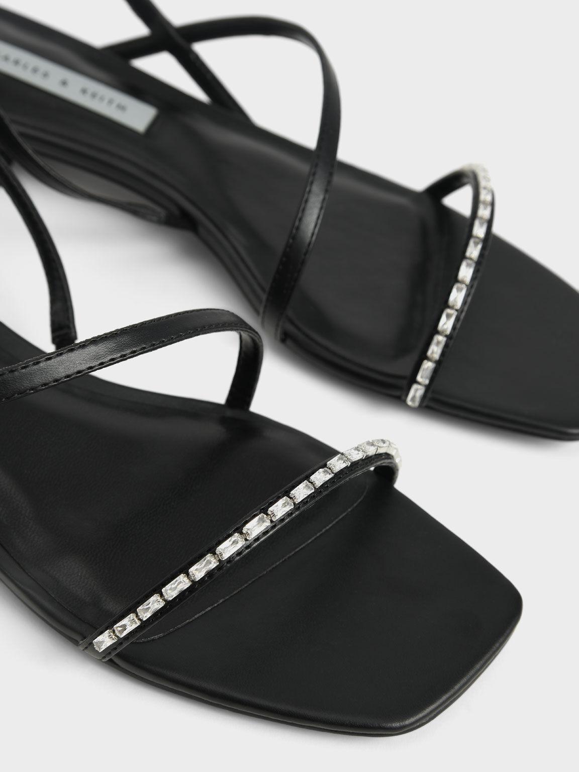 寶石一字帶涼鞋, 黑色, hi-res