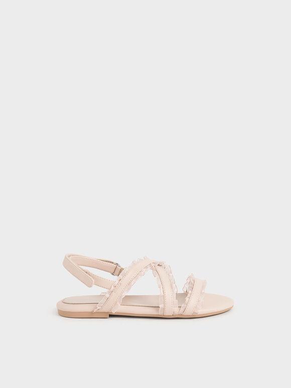 兒童荷葉邊涼鞋, 淺粉色, hi-res