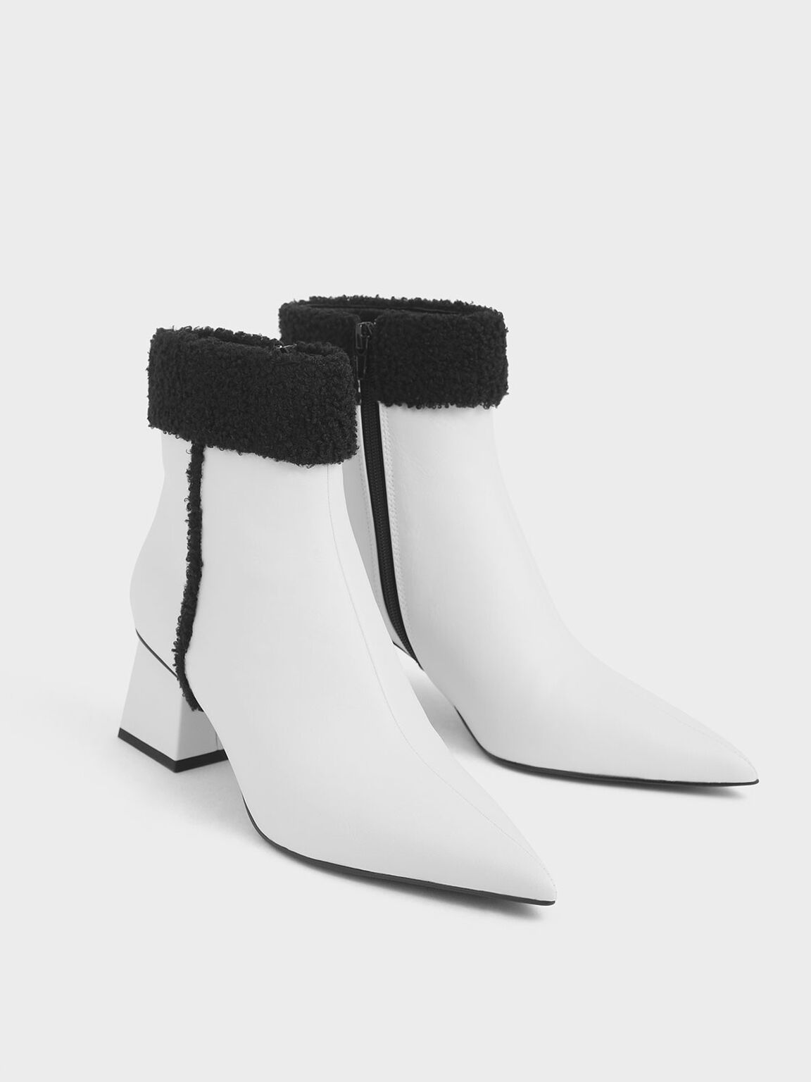 Textured Ankle Cuff Patent Boots, White, hi-res