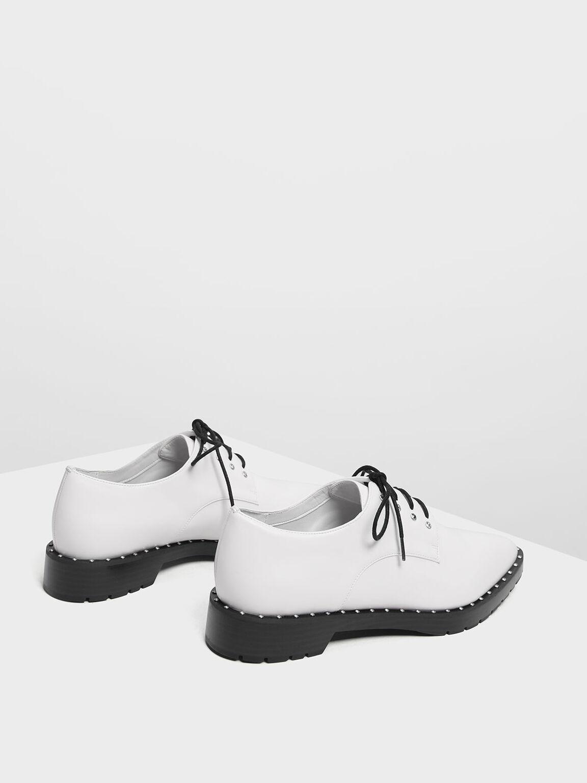 Embellished Derby Shoes, White, hi-res