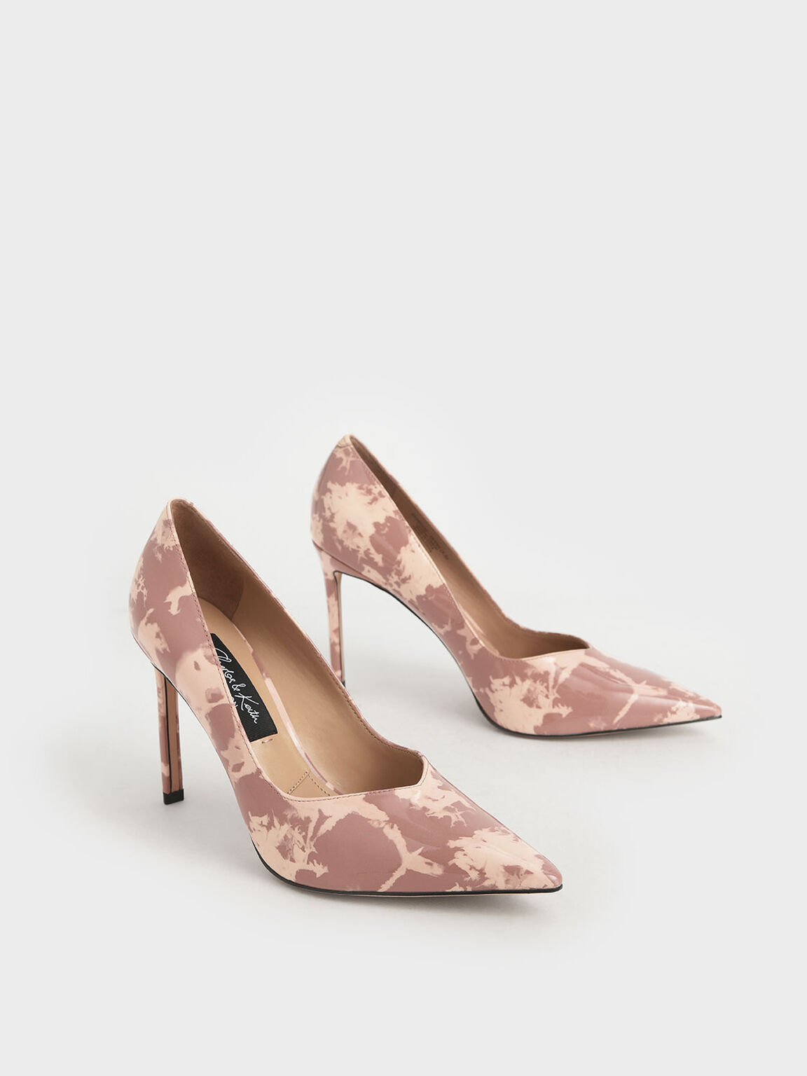 Patent Leather Printed Pointed Toe Pumps, Blush, hi-res