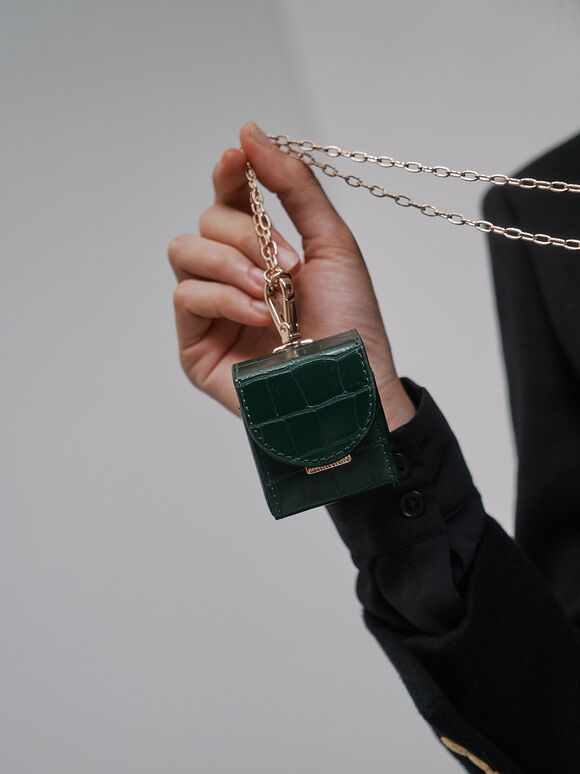 Croc-Effect AirPods Case Necklace, Green, hi-res