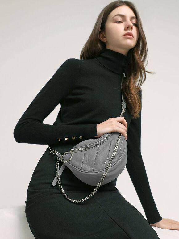 Nylon Wrinkled-Effect Saddle Bag, Grey, hi-res