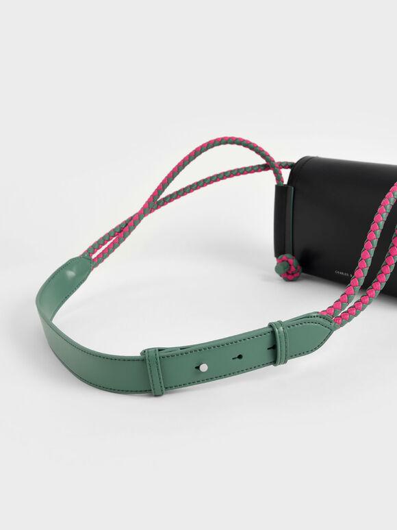 Embellished Strap Crossbody Bag, Black, hi-res