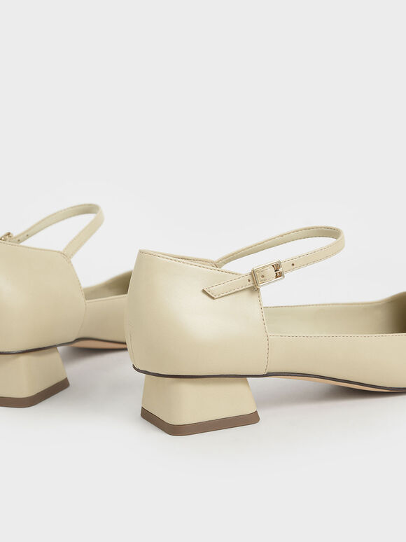 Square Toe Ankle Strap Pumps, Beige, hi-res