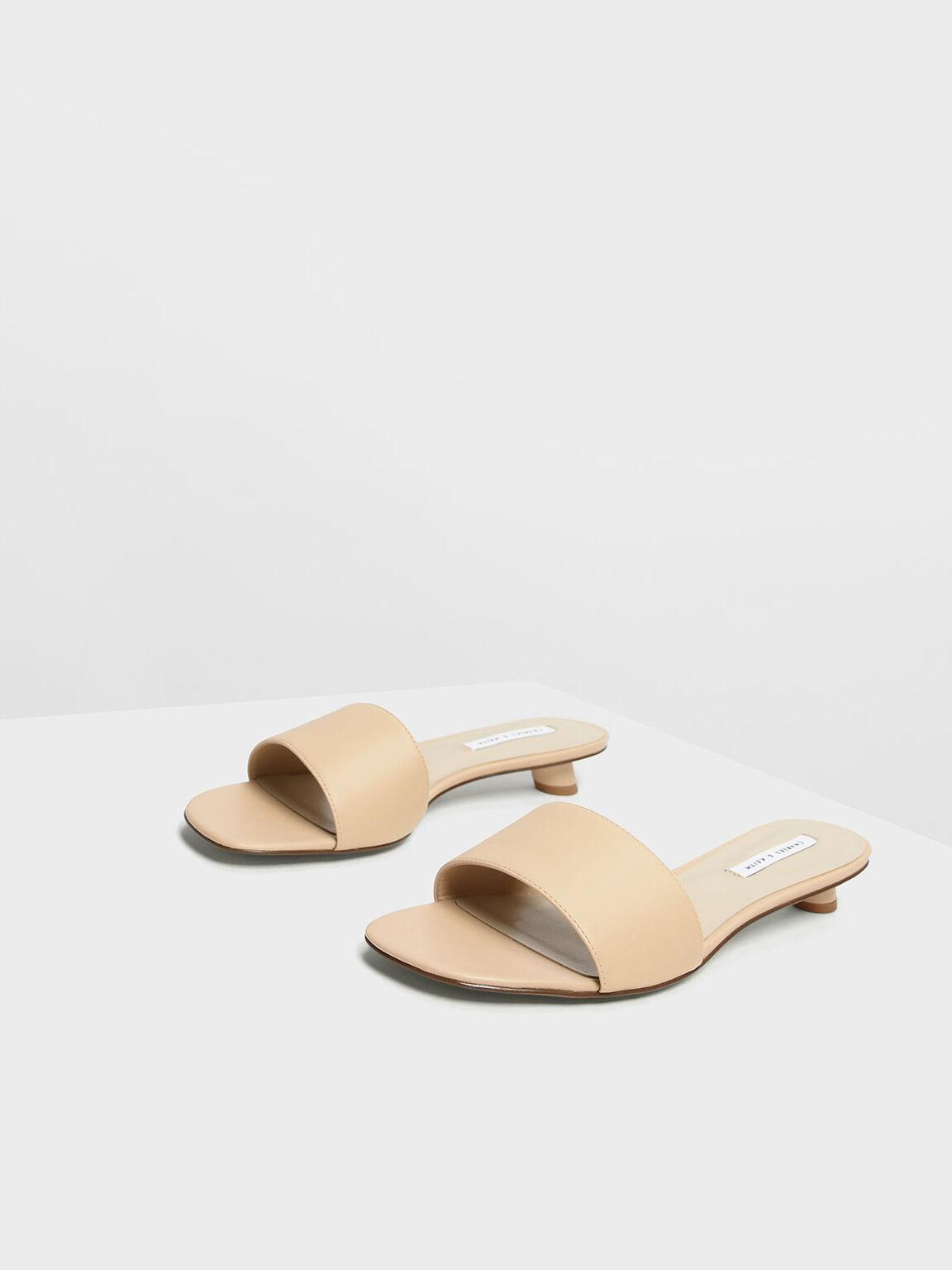 Classic Heeled Slide Sandals, Nude, hi-res