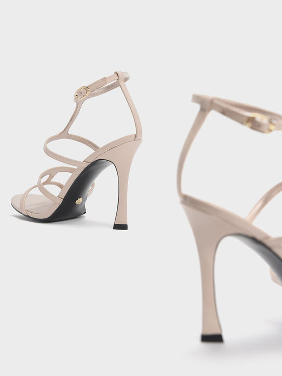 Patent Leather Strappy Stiletto Heel Sandals, Nude