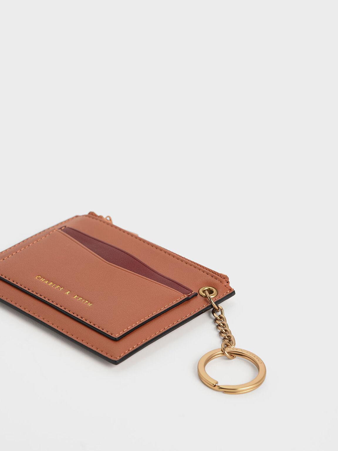 Two-Tone Zip Pocket Card Holder, Tan, hi-res